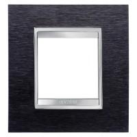 Cover Plate Chorus LUX INTERNATIONAL, Metal , Black Aluminium, 2 modules, Horizontal, Vertical