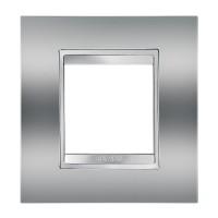 Cover Plate Chorus LUX INTERNATIONAL, Metallised Technopolymer, Chrome, 2 modules, Horizontal, Vertical