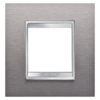 Cover Plate Chorus LUX INTERNATIONAL, Metal , Brushed Stainless Steel, 2 modules, Horizontal, Vertical