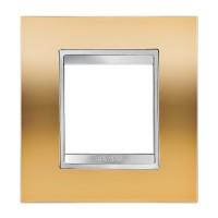 Cover Plate Chorus LUX INTERNATIONAL, Metallised Technopolymer, Gold, 2 modules, Horizontal, Vertical