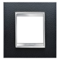 Cover Plate Chorus LUX INTERNATIONAL, Technopolymer Leather Finish, Black, 2 modules, Horizontal, Vertical
