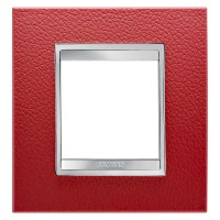 Cover Plate Chorus LUX INTERNATIONAL, Technopolymer Leather Finish, Ruby, 2 modules, Horizontal, Vertical