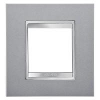Cover Plate Chorus LUX INTERNATIONAL, Technopolymer, Titanium, 2 modules, Horizontal, Vertical