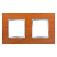 Cover Plate Chorus LUX INTERNATIONAL, Technopolymer Wood Finish, Cherry, 2+2 modules, Horizontal