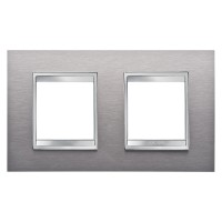 Cover Plate Chorus LUX INTERNATIONAL, Metal , Brushed Stainless Steel, 2+2 modules, Horizontal