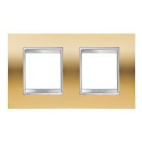 Cover Plate Chorus LUX INTERNATIONAL, Metallised Technopolymer, Gold, 2+2 modules, Horizontal