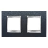 Cover Plate Chorus LUX INTERNATIONAL, Technopolymer Leather Finish, Black, 2+2 modules, Horizontal