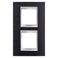 Cover Plate Chorus LUX INTERNATIONAL, Metal , Black Aluminium, 2+2 modules, Vertical