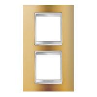 Cover Plate Chorus LUX INTERNATIONAL, Metallised Technopolymer, Gold, 2+2 modules, Vertical