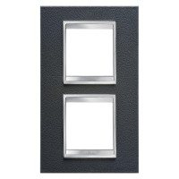 Cover Plate Chorus LUX INTERNATIONAL, Technopolymer Leather Finish, Black, 2+2 modules, Vertical