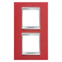 Cover Plate Chorus LUX INTERNATIONAL, Technopolymer Leather Finish, Ruby, 2+2 modules, Vertical