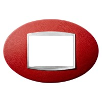 Cover Plate Chorus ART IT, Leather, Ruby, 3 modules, Horizontal
