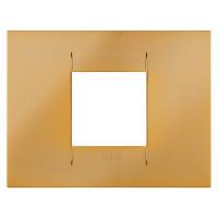 Cover Plate Chorus GEO IT, Metallised Technopolymer, Gold, 2 modules, Horizontal