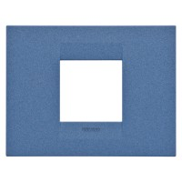 Cover Plate Chorus GEO IT, Painted Technopolymer Pastel Colours, Sea Blue, 2 modules, Horizontal