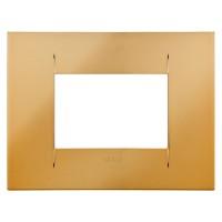 Cover Plate Chorus GEO IT, Metallised Technopolymer, Gold, 3 modules, Horizontal