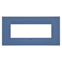 Cover Plate Chorus GEO IT, Painted Technopolymer Pastel Colours, Sea Blue, 6 modules, Horizontal