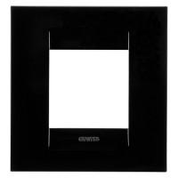 Cover Plate Chorus GEO INTERNATIONAL, Technopolymer, Toner Black, 2 modules, Horizontal, Vertical