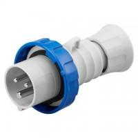 STRAIGHT PLUG HP - IP66/IP67/IP68/IP69 - 2P+E 16A 200-250V 50/60HZ - BLUE - 6H - SCREW WIRING