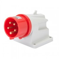 90 ANGLED SURFACE MOUNTING INLET - IP44 - 3P+N+E 32A 380-415V 50/60HZ - RED - 6H - SCREW WIRING