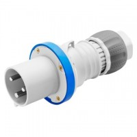 STRAIGHT PLUG HP - IP44/IP54 - 2P+E - 63A - 200-250V 50/60HZ - BLUE - 6H - MANTLE TERMINAL