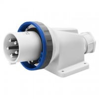 90 ANGLED SURFACE MOUNTING INLET - IP67 - 2P+E 63A 200-250V 50/60HZ - BLUE - 6H - MANTLE TERMINAL