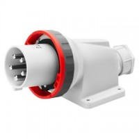 90 ANGLED SURFACE MOUNTING INLET - IP67 - 3P+N+E 63A 380-415V 50/60HZ - RED - 6H - MANTLE TERMINAL