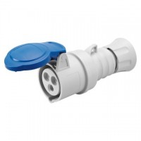 STRAIGHT CONNECTOR HP - IP44/IP54 - 2P+E 16A 200-250V 50/60HZ - BLUE - 6H - SCREW WIRING