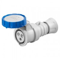 STRAIGHT CONNECTOR HP - IP66/IP67/IP68/IP69 - 2P+E 32A 200-250V 50/60HZ - BLUE - 6H - SCREW WIRING