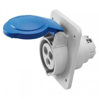 10 ANGLED FLUSH-MOUNTING SOCKET-OUTLET HP - IP44/IP54 - 2P+E 16A 200-250V 50/60HZ - BLUE - 6H - SCREW WIRING