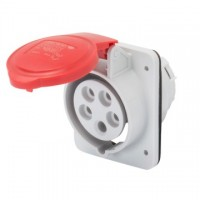 10 ANGLED FLUSH-MOUNTING SOCKET-OUTLET HP - IP44/IP54 - 3P+N+E 32A 380-415V 50/60HZ - RED - 6H - SCREW WIRING