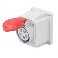 10 ANGLED SURFACE-MOUNTING SOCKET-OUTLET - IP44 - 3P+N+E 16A 380-415V 50/60HZ - RED - 6H - SCREW WIRING