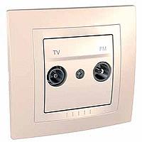Сглобена TV/FM розетка 47-860 MHz 10 A 250 V, Крема/Слонова кост