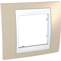 Единична рамка Unica Plus, Светло бежов/Бял