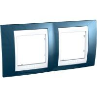 Двойна рамка Unica Plus, Ледено син/Бял