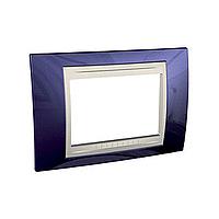 Тримодулна рамка италиански стандарт Unica Plus IT, Слонова кост/Индиго