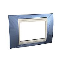 Тримодулна рамка италиански стандарт Unica Plus IT, Слонова кост/Ледено син