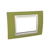 Тримодулна рамка италиански стандарт Unica Plus IT, Слонова кост/Ярко зелен