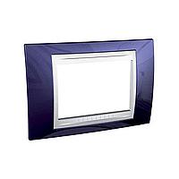 Тримодулна рамка италиански стандарт Unica Plus IT, Бял/Индиго