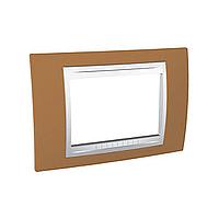 Тримодулна рамка италиански стандарт Unica Plus IT, Бял/Оранж