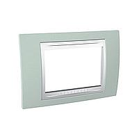 Тримодулна рамка италиански стандарт Unica Plus IT, Бял/Морско зелен