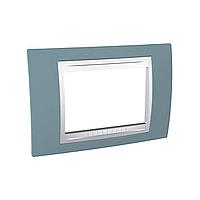 Тримодулна рамка италиански стандарт Unica Plus IT, Бял/Светло син