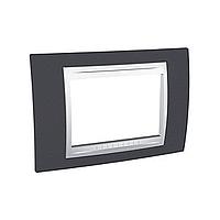 Тримодулна рамка италиански стандарт Unica Plus IT, Бял/Тъмно сив