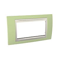 Четиримодулна рамка италиански стандарт Unica Plus IT, Слонова кост/Ябълково зелен