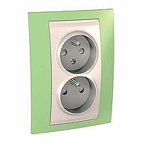 Двоен контактен излаз, 2P+E, CZ/SK, с детска защита, Слонова кост/Ябълково зелен