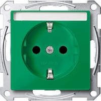 Контактен излаз Шуко за специални вериги  с поле за маркировка, Зелено