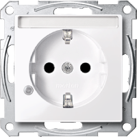 Контактен излаз Шуko с индикаторна лампа и поле за етикет, Активно бяло