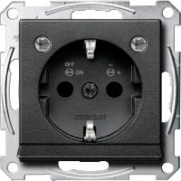 Контактен излаз Шуко със светлинен излаз  и LED осветителен модул, Антрацит