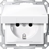 Контактен излаз Шуко с капаче на панти,  IP44, Активно бяло