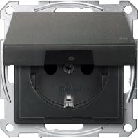 Контактен излаз Шуко с капаче на панти,  IP44, Антрацит