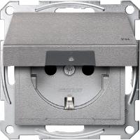 Контактен излаз Шуко с капаче на панти,  IP44, Алуминий